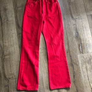 Red high waisted flare pants!
